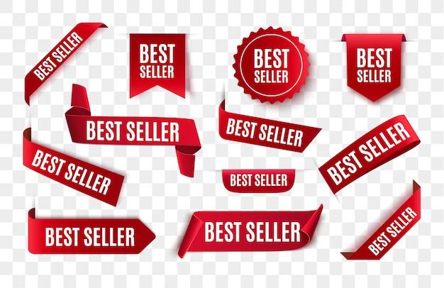 Fita vermelha do melhor vendedor isolada.