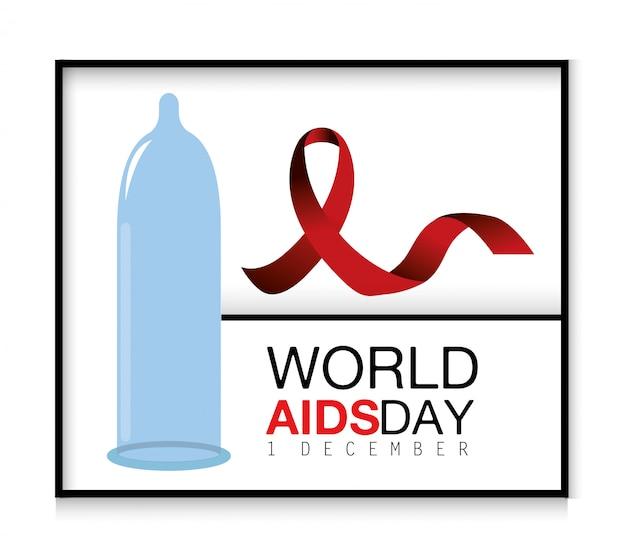 Fita vermelha e preservativo para o dia da aids