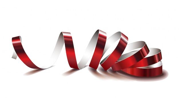 Fita vermelha festiva sobre fundo branco. serpentinas de vetor realista.