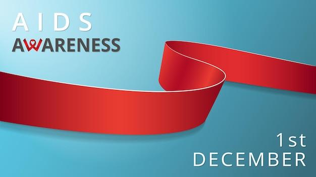 Fita vermelha realista. cartaz do mês da síndrome da imunodeficiência humana adquirida de consciência. ilustração vetorial. conceito de solidariedade do dia mundial da aids. fundo azul. símbolo de vasculitus, anorexia.