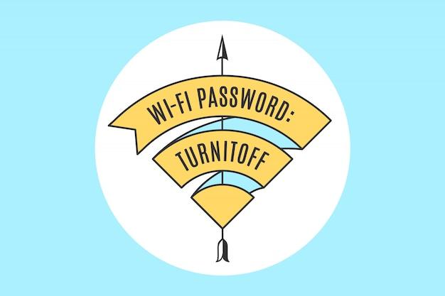 Fita vintage sinal wifi para acesso wi-fi no café ou restaurante