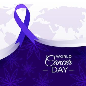 Fita wutg de ilustração do dia mundial do câncer
