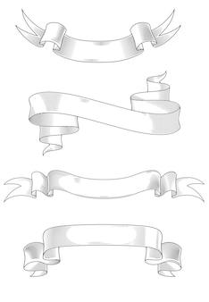 Fitas abstratas medievais definido para design de heráldica