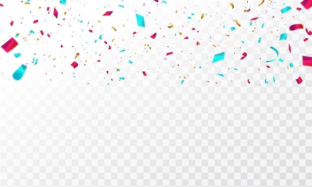 Fitas coloridas de confetes.