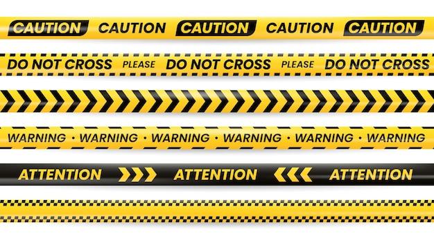 Fitas de advertência de perigo, linha policial preta amarela, sinal de alerta de segurança. fitas de perigo com atenção, não cruze e avise com cuidado, ultrapasse barreira, fronteiras de segurança de área perigosa