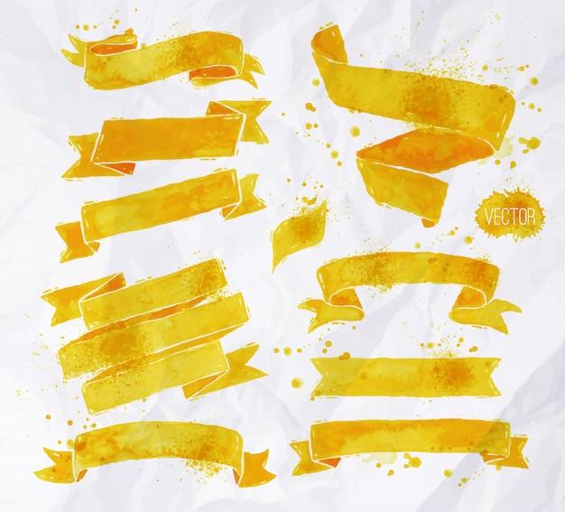 Fitas de aquarelas cor amarela