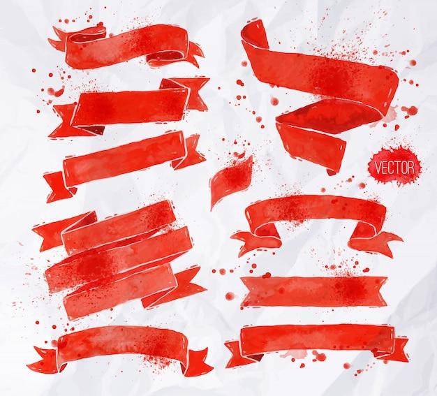 Fitas de aquarelas em cores vermelhas