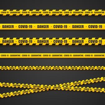 Fitas de aviso amarelo brilhante. área de risco, coronovírus, linhas de precaução