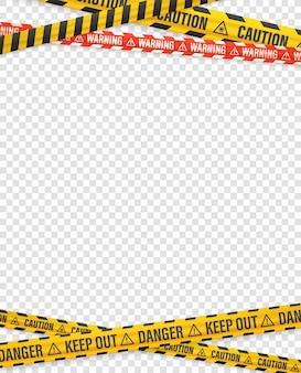 Fitas de aviso sobre fundo transparente. modelo de design do vetor