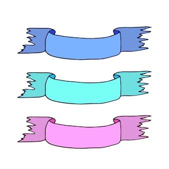 Fitas de banners. decorações coloridas do vetor.