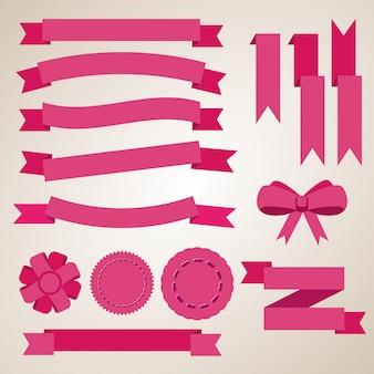 Fitas de cor lisa, emblemas, marcadores e arco