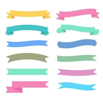 Fitas de cores suaves definidos em estilos diferentes