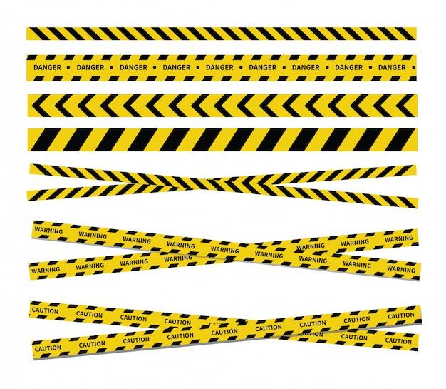 Fitas de cuidado e perigo. fita de advertência. linha preta e amarela listrada.