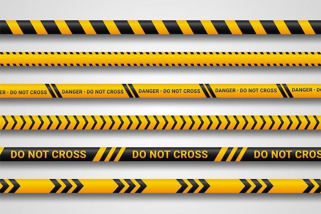 Fitas de cuidado e perigo.