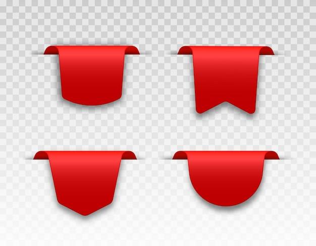 Fitas de etiqueta de preço em branco e vermelhas com sombra transparente
