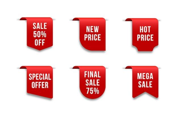 Fitas de etiqueta de preço em branco vermelho e conjunto de venda