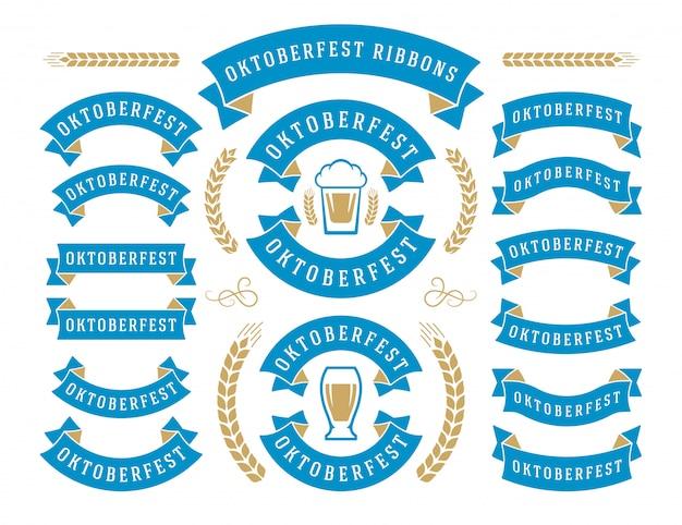 Fitas de festival de cerveja de celebração oktoberfest e conjunto de rótulos
