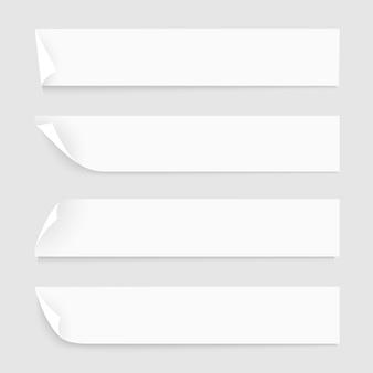 Fitas de papel branco com sombras
