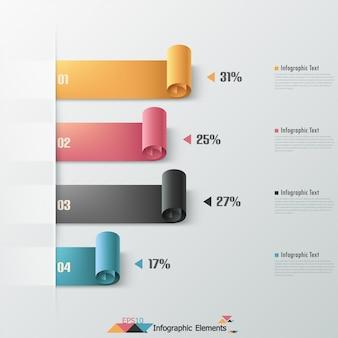 Fitas de papel de infografia moderna