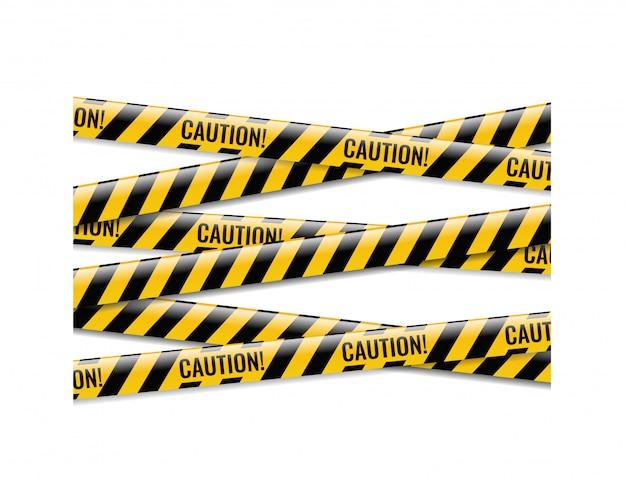 Fitas de perigo com fundo branco isolado