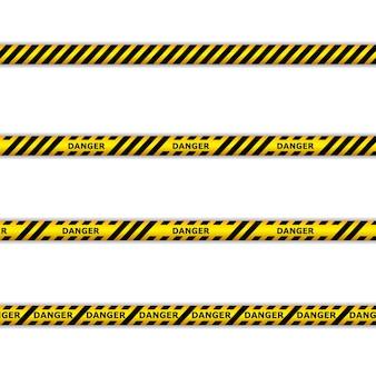 Fitas de perigo. fitas de advertência. linha de polícia e não atravesse. fita de barricada.