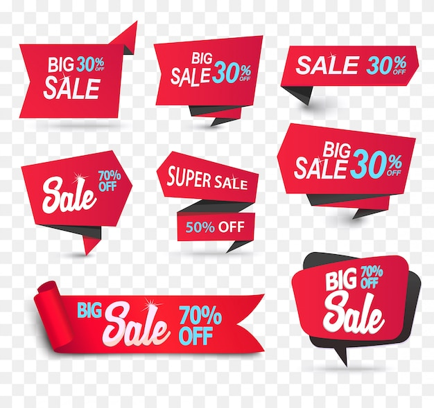 Fitas de produto de loja de venda de papel realista definido