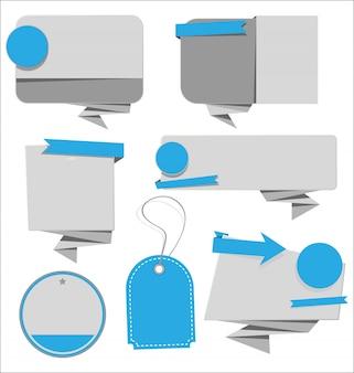Fitas de venda moderna, bolha do discurso e tag