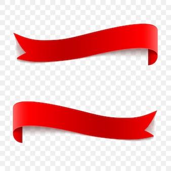 Fitas de vetor brilhante vermelho realista de vetor na transparente