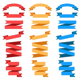 Fitas de vetor plana isoladas. conjunto de fita vermelha, amarela e azul