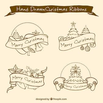 Fitas desenhadas à mão com árvores de natal