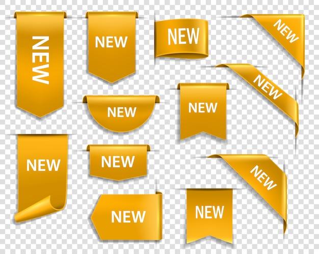 Fitas douradas, banners e etiquetas, nova etiqueta