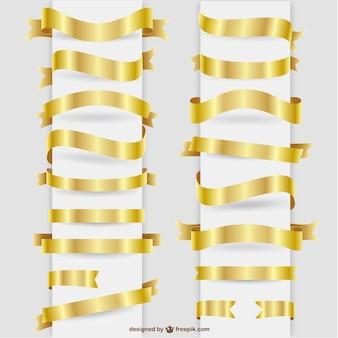 Fitas douradas elementos gráficos set