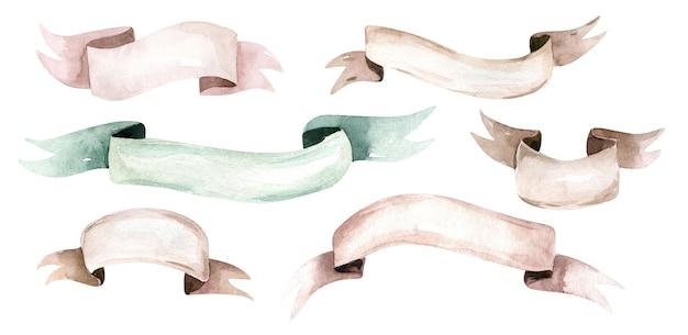Fitas e banners de aquarelas coleção de fitas de elementos de design de aquarela com sombra