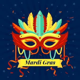 Fitas e confetes de festa de design plano de carnaval