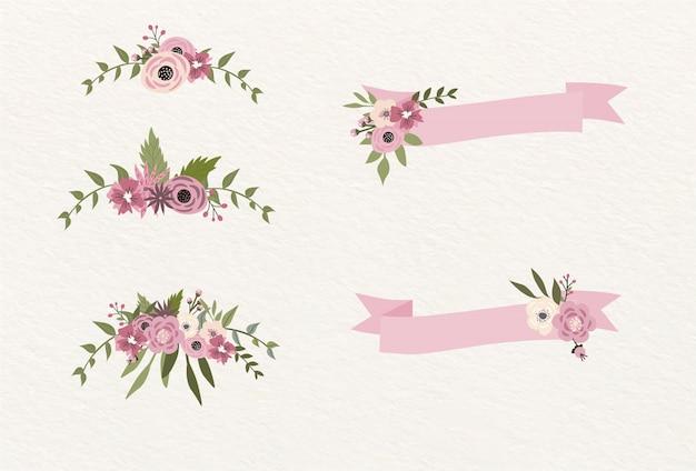 Fitas e decoração com flores