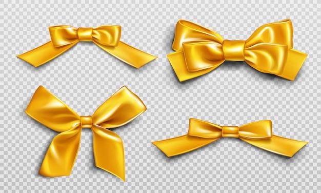 Fitas e laços de ouro para embrulhar o conjunto de caixas de presente