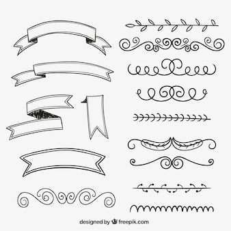 Fitas e ornamentos desenhados mão