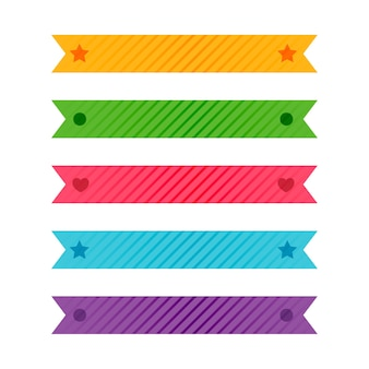 Fitas estampadas coloridas ou conjunto de fita adesiva