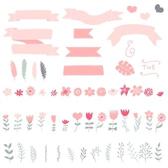 Fitas, flores, folhas, ramos, penas e corações. elementos de coroa desenhados à mão. elementos doces para cartões e convites. ilustrações vetoriais.