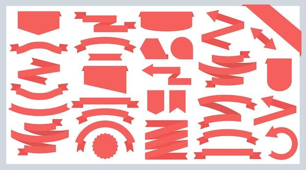 Fitas planas e emblemas. setas de fitas vermelhas.