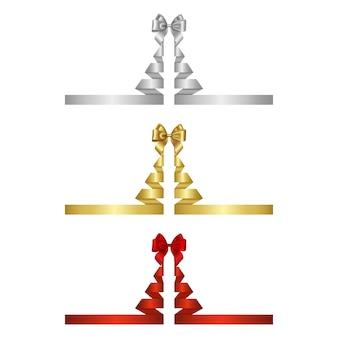 Fitas prateadas, douradas e vermelhas em forma de árvore de natal com laços