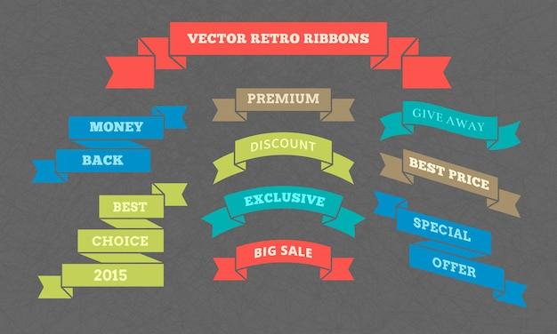 Fitas retrô vectoriais com inscrições para aumentar o consumismo em planos de fundo texturizados