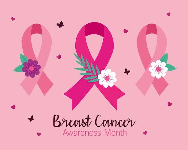 Fitas rosa de conscientização do câncer de mama com desenho de flores, tema da campanha.
