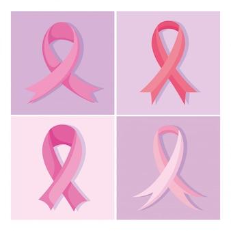 Fitas rosa de conscientização do câncer de mama, ícones de design de vetor, design e ilustração vetorial