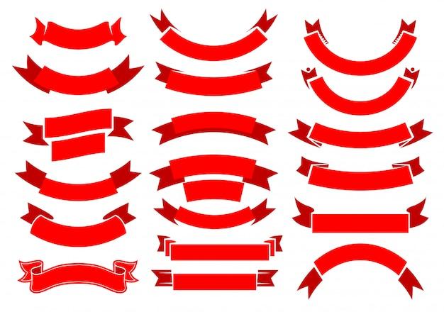 Fitas vermelhas, banners, pergaminhos antigos,