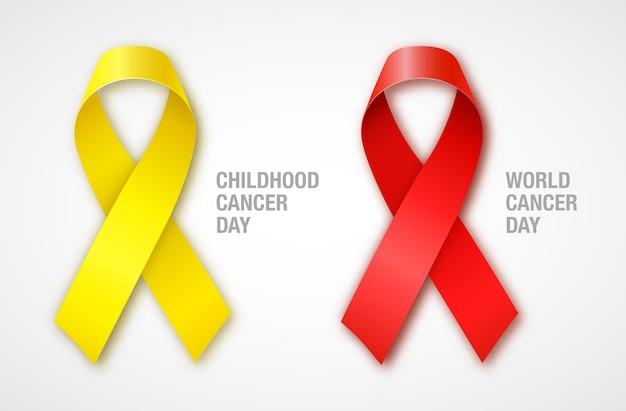 Fitas vermelhas e amarelas de conscientização do câncer. dia mundial do câncer. dia do câncer infantil.