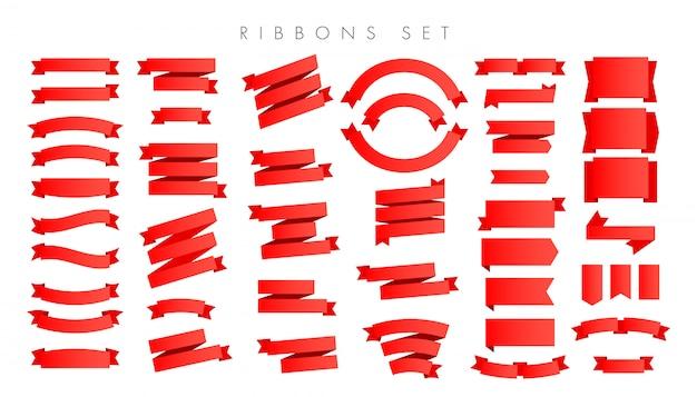 Fitas vermelhas gradientes novas modernas isoladas