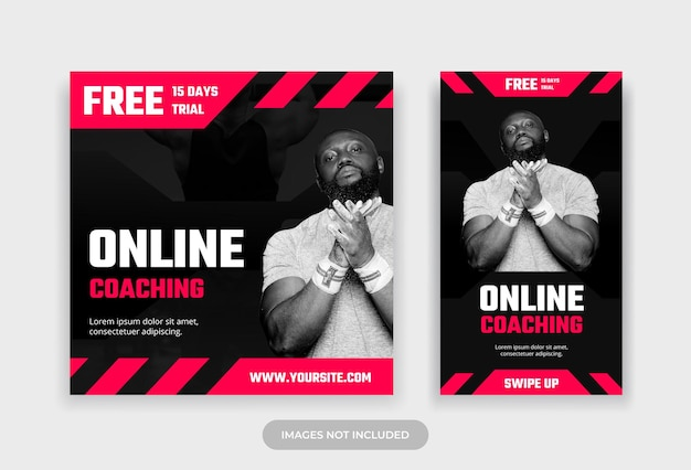 Fitness coaching online postagem em mídia social e modelo de design de história