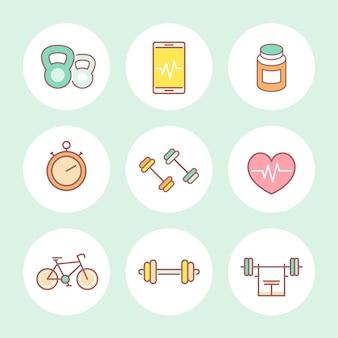 Fitness de linha, conjunto de ícones coloridos de ginásio, ilustração vetorial