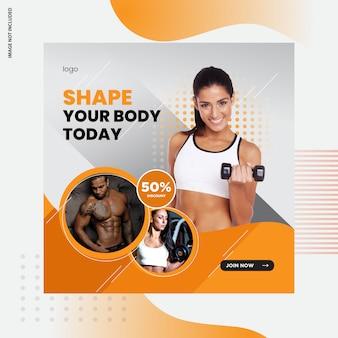 Fitness, design de post de mídia social de ginásio